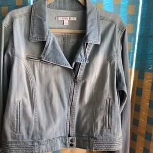 LC Lauren Conrad XL denim jean moto jacket NEW